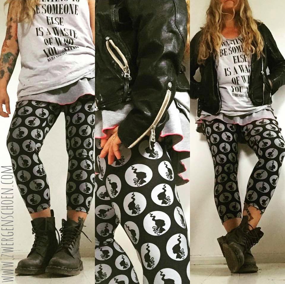 ♥MILLI in DOTS♥ 0.5m JERSEY Silhouette PUNKTE schwarz/grau