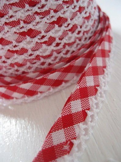♥VICHY♥RED non-elastic RIBBON BINDING