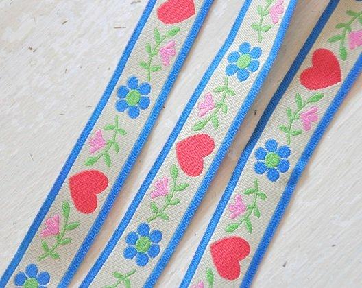 ♥FOLKLORE♥ Webband FLOWERS&HEARTS Lieblings BAND Meterware