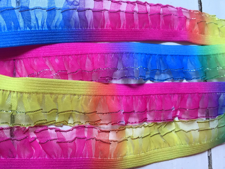♥RAINBOW♥ Ruffles ELASTIC RIBBON Glitter PRICE per METER