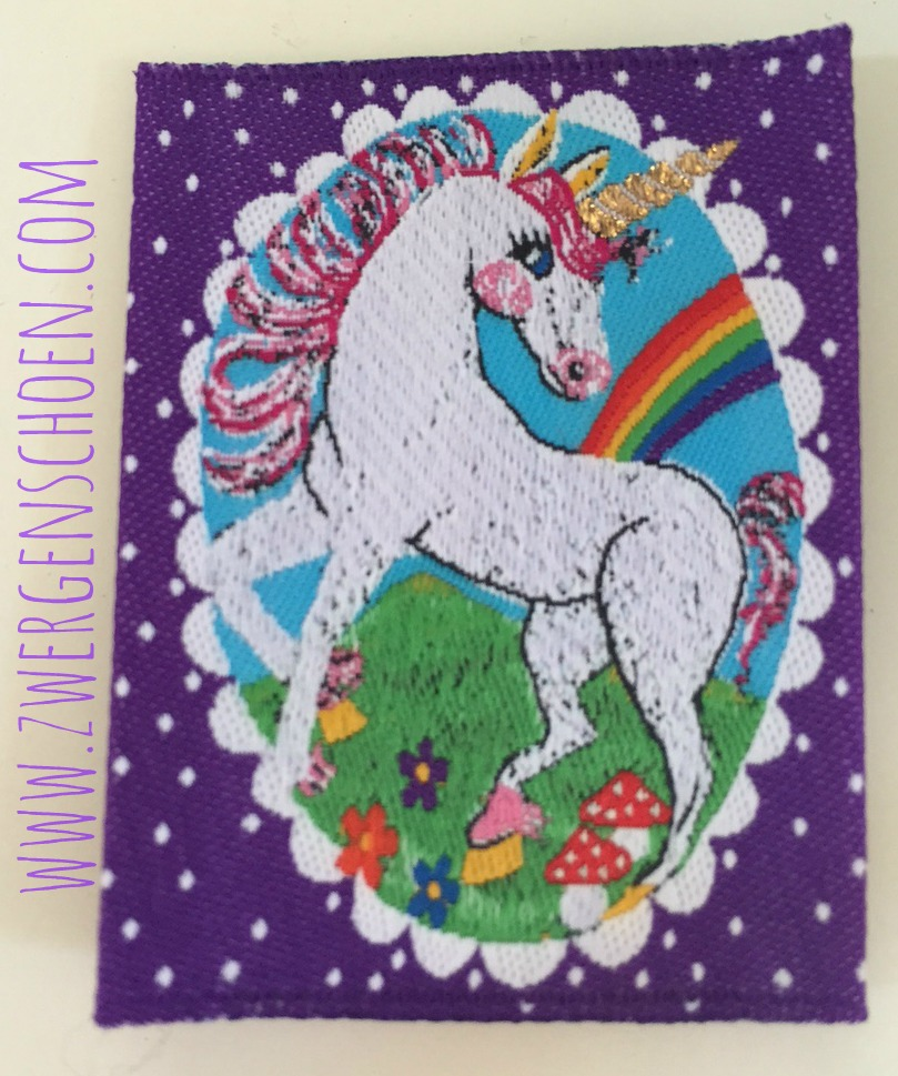 ♥UNICORN♥ woven LABEL purple WONDERLAND 5x5cm Price per ONE