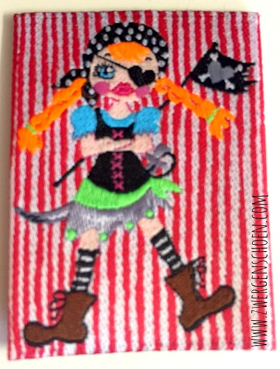 ♥BONNIE the PIRATE♥ Webetikett PIRATENMÄDCHEN 5x5cm