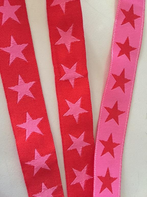 ♥SUPERSTARS♥ Sterne WEBBAND rot pink METERWARE