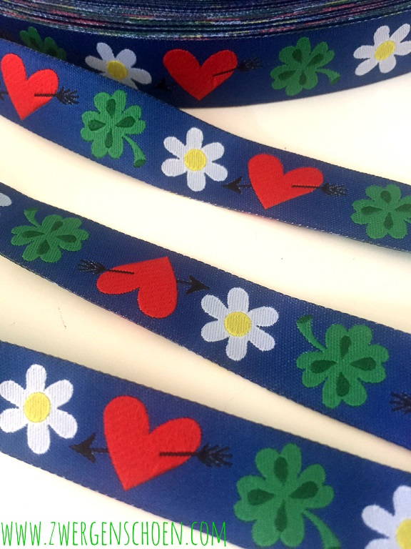 ♥LUCKY LOVE♥ RIBBON clover flower heart BLUE Price per Meter