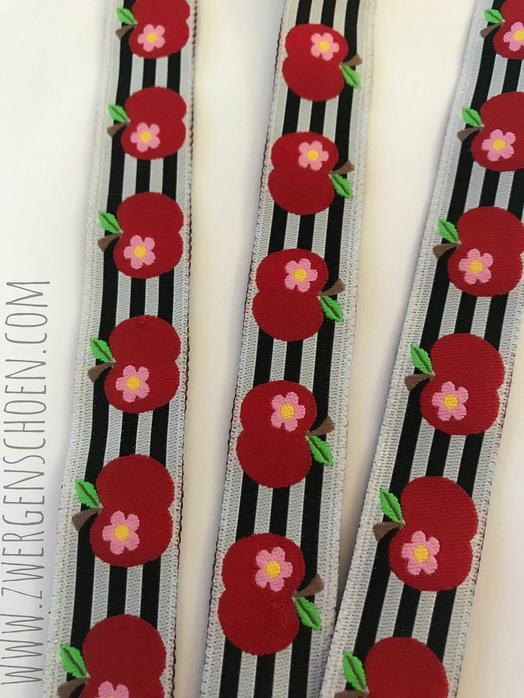 ♥APFELschoen♥ APPLES on STRIPES Ribbon BLACK
