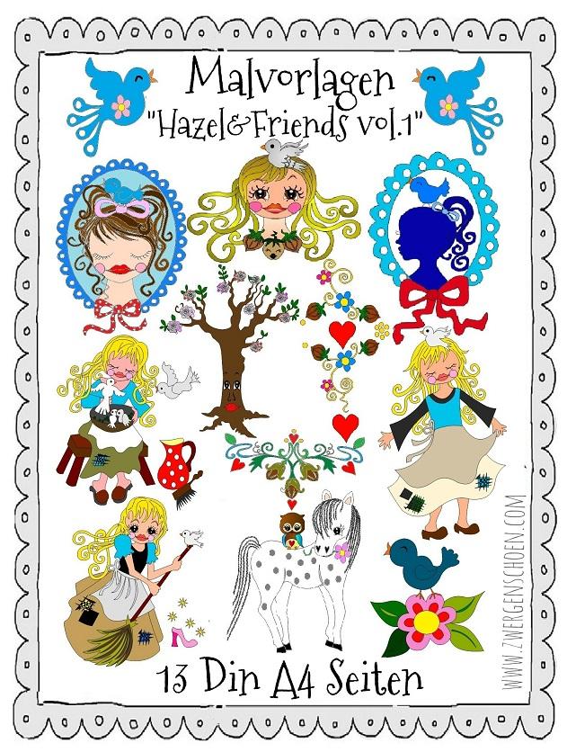 ♥MALvorlagen♥ DIN A4 HAZEL&Friends vol.1 ZWERGENSCHÖN Aschenbrödel