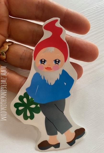 ♥4von7♥ AUFKLEBER Karl KLEE Gnome ZWERG 9cm TRANSPARENT