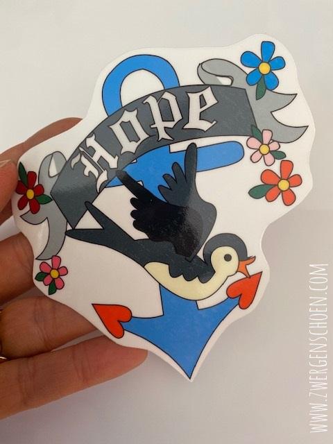 ♥HOPE♥ Aufkleber ANKER ZwitschePIEPS 10cm transparent