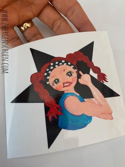 ♥REBELLA♥ Aufkleber BLACK STAR 10x11cm transparent