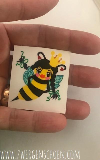 ♥BEE Queen♥ BIENENKÖNIGIN Aufkleber BIENE transparent 4cm