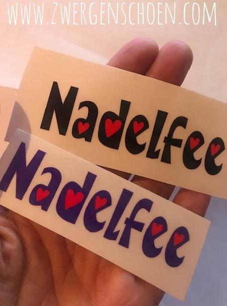 ♥NADELFEE♥ Aufkleber TRANSPARENT purple oder schwarz 2x8cm