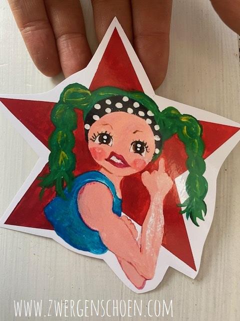 ♥REBELLA♥ Aufkleber RED STAR 10x11cm weiss