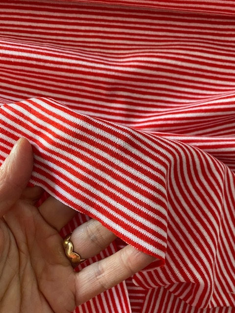 ♥CUFF♥ 0.25m STRIPES Jersey red/white IRRGEGULAR