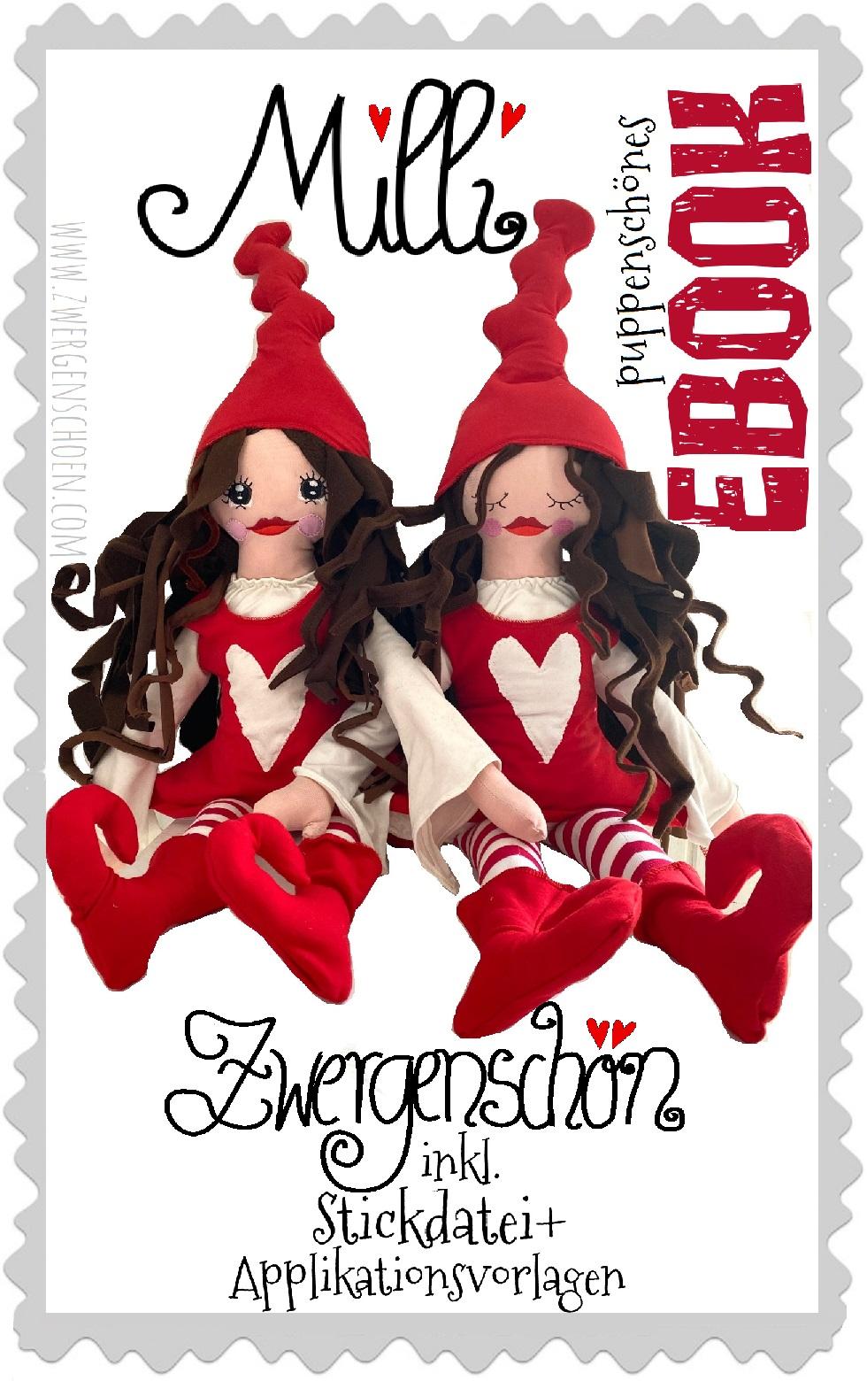 ♥MILLI ZWERGENSCHoeN♥ eBOOK decoration DOLL incl. EMBROIDERY+APPLIQUE