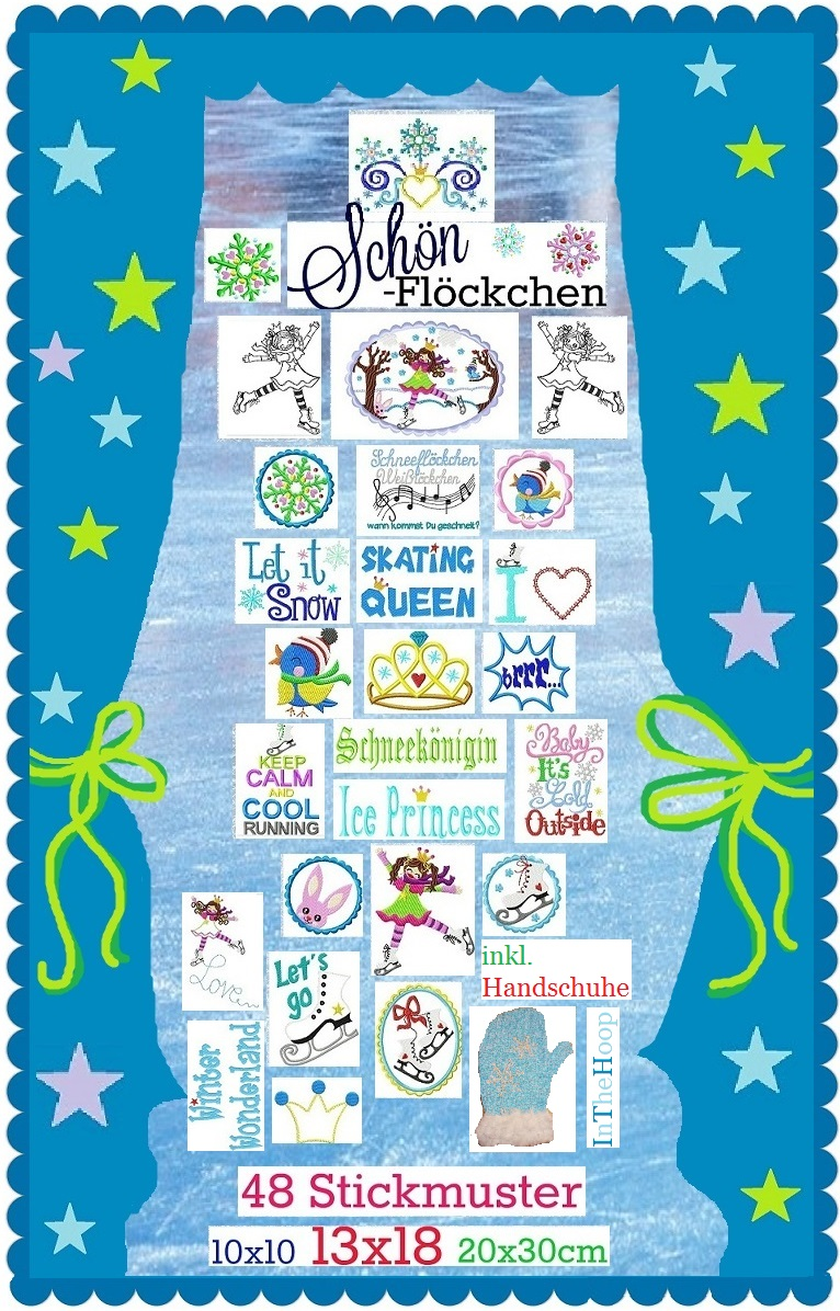 ♥SCHoeNFLoeCKCHEN♥ Embroidery FILE Ice PRINCESS 10x10 13x18 20x30cm