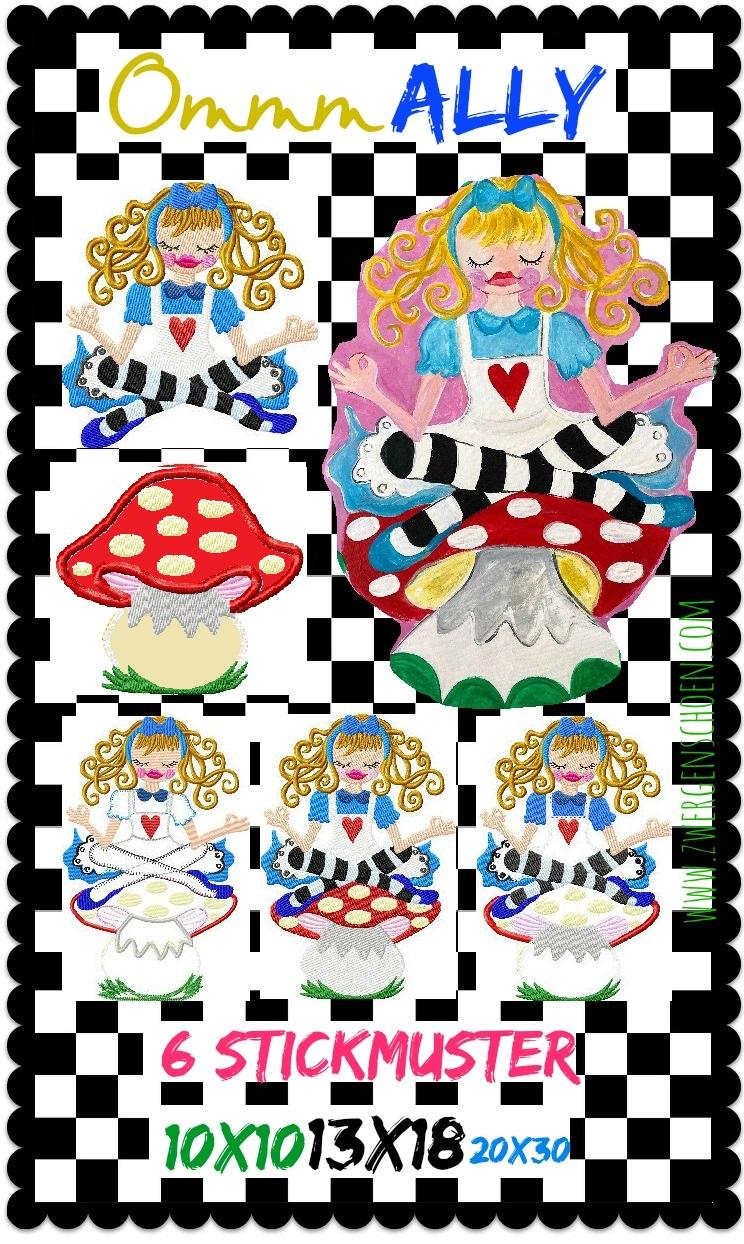 ♥OMMM Ally♥ Embroidery FILE-SET WONDERLAND 10x10 13x18cm