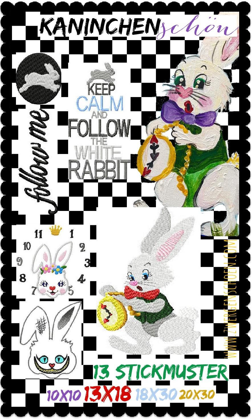 ♥KANINCHENschön♥ Embroidery File-Set WHITE RABBIT 10x10 13x18 18x30 20x30cm