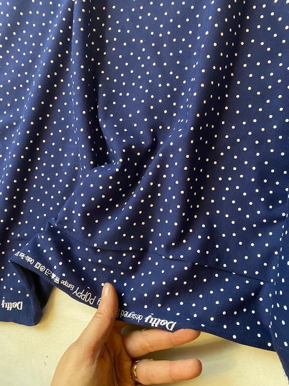 ♥DOTTY♥ 0.5m JERSEY navy MARINE blau PUNKTE dots