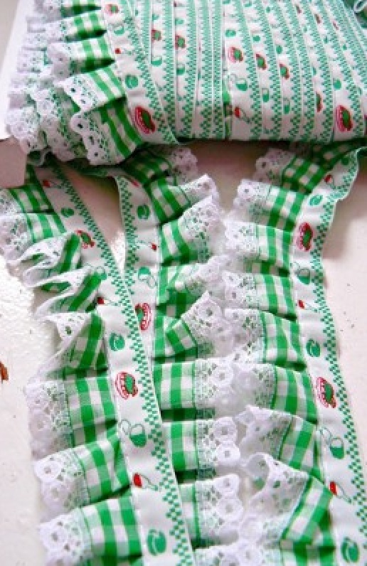 ♥RUFFLES♥vichy GREEN ribbon THE MOST BEAUTIFUL!!!