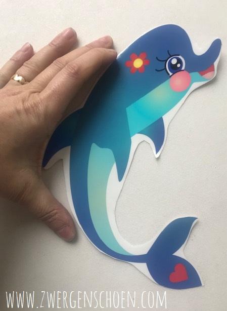 ♥FLIPPER XL♥ Aufkleber TRANSPARENT Delfin 22cm
