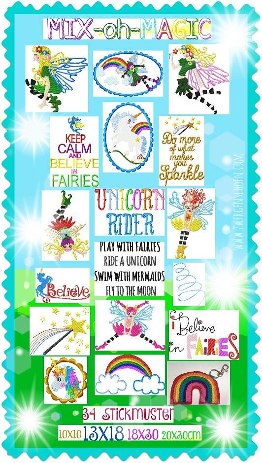 ♥MIXohMAGIC♥ Embroidery FILE-SET FAIRIES, UNICORNS, ELVES special