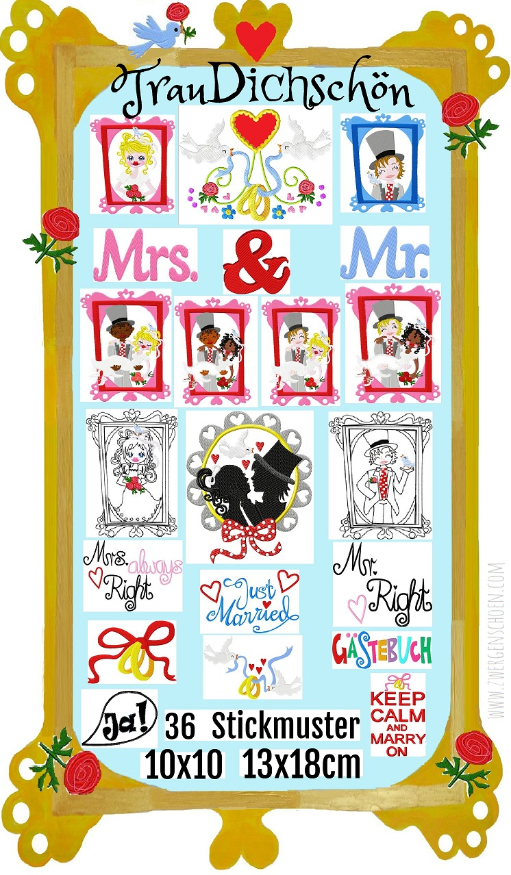 ♥SWEET WEDDING♥ Embroidery-File SET Marriage 13x18 18x30