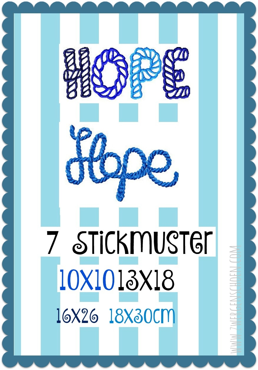 ♥HOPE♥ Embroidery-FILE Rope 10x10 13x18 16x26 18x30cm