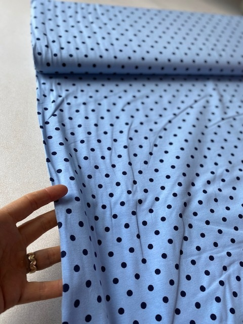 ♥POLKA DOTS♥ Jersey PRICE PER 0.5 METER skyblue meets darkblue