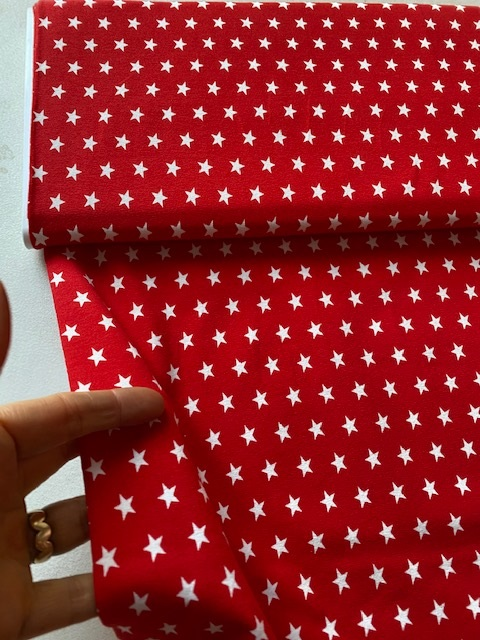 ♥little SUPERSTARS♥ Jersey RED STARS red PRICE PER 0,5 METER