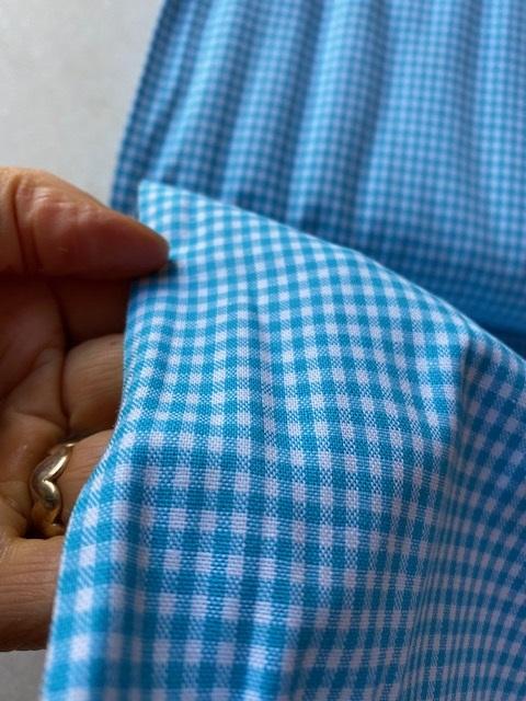 ♥mini VICHY♥ 0.5m Cotton AQUA BLUE check PRICE per 0.5 METER